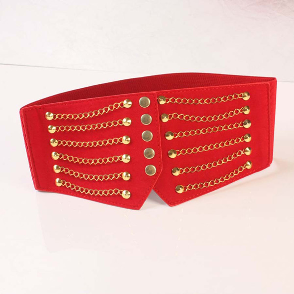 Women Gold Tone Chain Front Elastic High Waist Belt Cinch Red CC2005